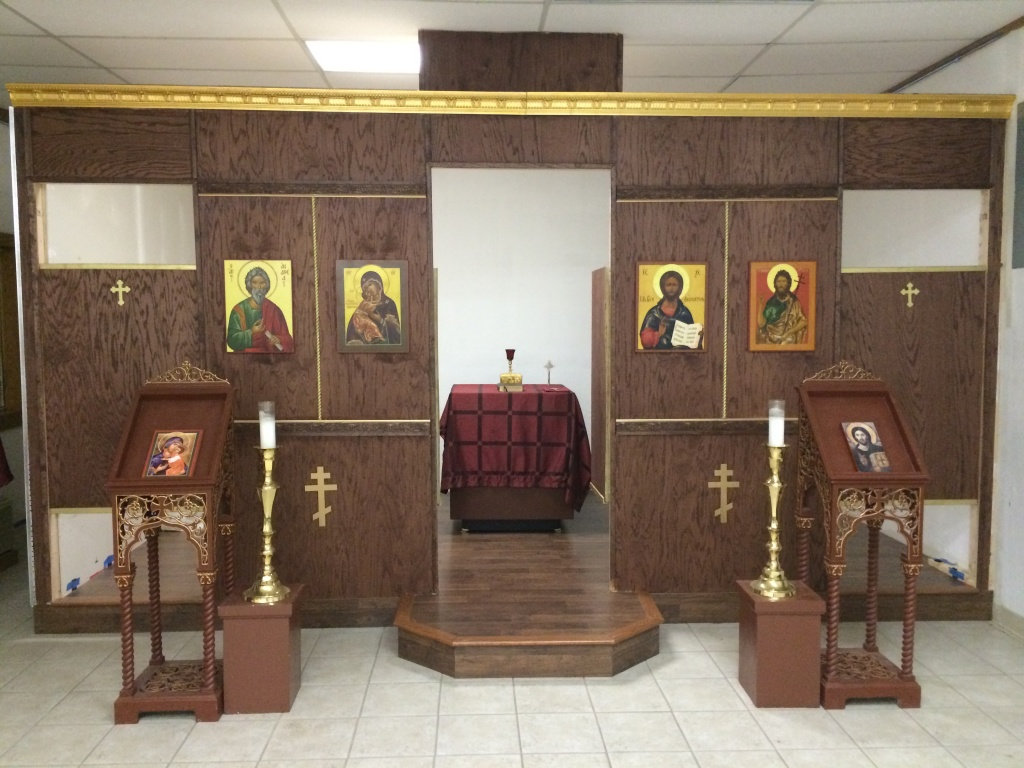 The icons for the iconostas were delivered and installed this week.